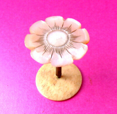 Antique Lovely Carved Flower Pearl Top Sewng Spool.