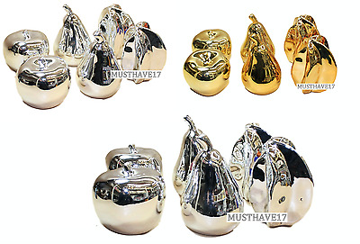 Ceramic Fruit Silver Gold Centre Piece Set of 6 Romany Bling Shelve Sitters Gift