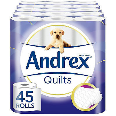Andrex Quilts Toilet Roll Tissue luxury Paper 45 Rolls Ply Quilted Soft Bathroom