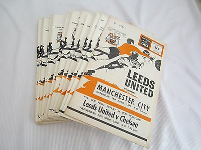 1970-71  Div 1 Leeds United Batch Of 23 Home Inc 2 Fac Programmes