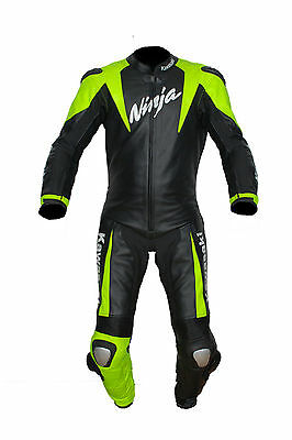 Kawasaki Motorbike Leather Suit Motorcycle Rider sports Leather Suit Racing