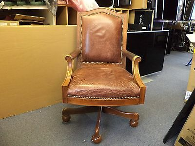 Antique Style Leather Desk Chair