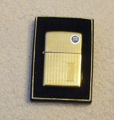New Unfired Sealed Zippo Lighter Vintage Stripe Style Brass No Monogram In Box