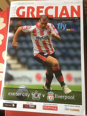 Exeter City v Liverpool Carling Cup 2011 programme and team sheet