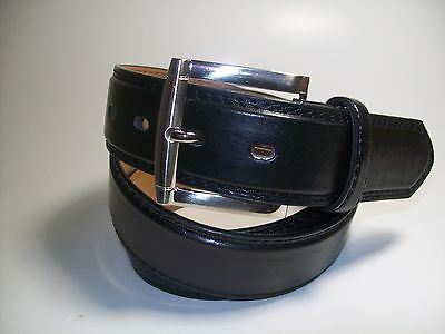 "Men new Black leather belt with Silver Buckle L 38 - 40"" #1015"