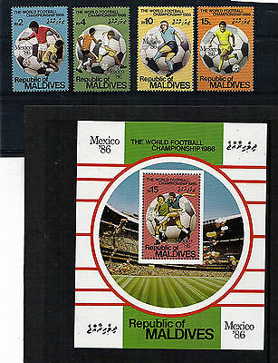 Maldives Set Of 4 & M/sheet Commemorative Stamps Football World Cup 1986 All Mnh