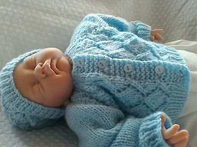 New. Hand Knitted Baby boys Cardigan & Beanie Hat. 0/3 months Blue Free P&P