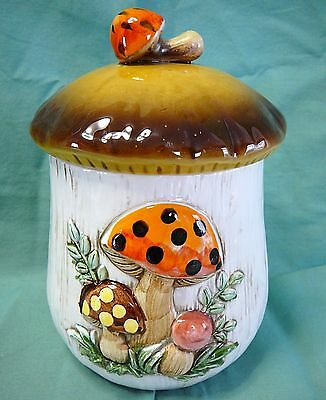 """Vintage Sears and Robuck Merry Mushroom  8"""" Med Coffee Canister"""