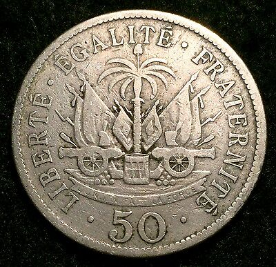1908 Haiti 50 Centimes President Pierre Nord Alexis Coin