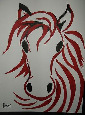 Red Horse by the artist Rodster 8.5X11 Ink drawing