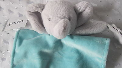 Carter's Grey and Blue Elephant Baby Security Blanket Lovey Plush