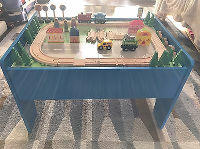 Children's Wooden Play Table With Train Set And People