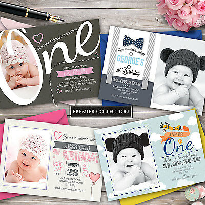 Personalised 1st Birthday Invitations • First Party Invites • Boy • Girl • Photo