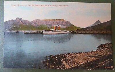 Vintage Postcard PPC, Steam Ship, Cape Town, Table Mountain, South Africa