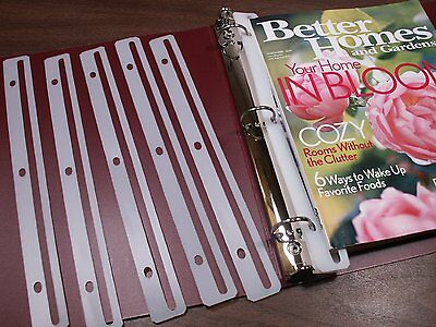 24-Pack Edge Strip Magazine Holders for Ring Binders 3-Hole Punched Organizer