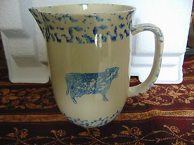 TIENSHAN FOLK CRAFT BLUE SPONGE COW HEART PITCHER LARGE 64oz VGUC