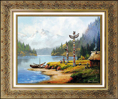 Heinie Hartwig Original Western Painting Native American Signed Landscape Art