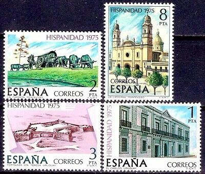 Spain 1975 Hispanic Heritage Uruguay History Fortress Cathedral Culture 4v MNH