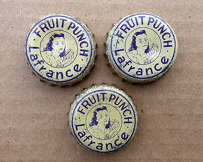 3 rare LAFRANCE Fruit Punch soda cork lined Quebec bottle caps FREE SHIPPING!