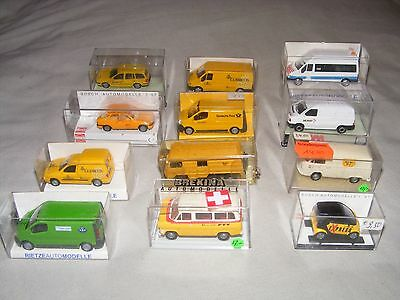 12x Mixed Brand Die Cast Model Cars and Vans, 1:87 Scale