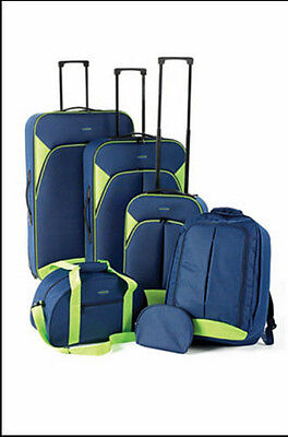 New 6 Piece Luggage Suitcase Set Lightweight Suitcases Blue &lime