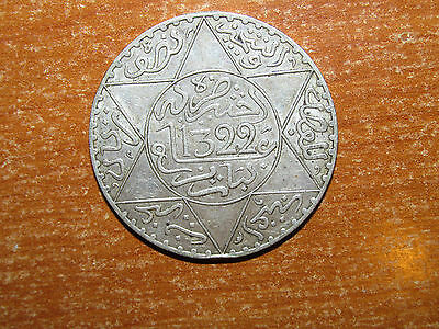 Morocco AH 1322 Pa silver 1/2 Rial coin Very Fine nice