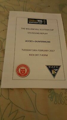 Hamilton Accies V Dunfermline Scottish Cup 5Th Rd Replay.14Th Feb 2017.mint.