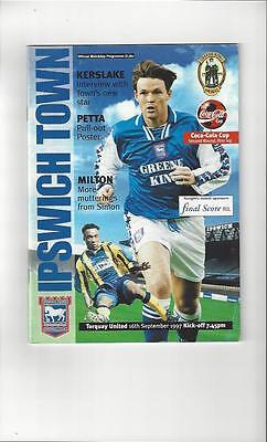 Ipswich Town v Torquay United Football Programme 1997/98