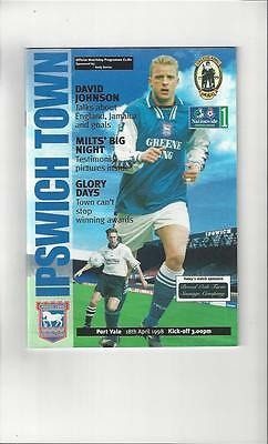 Ipswich Town v Port Vale Football Programme 1997/98