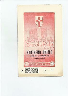 Lincoln City v Southend United Football Programme 1961/62