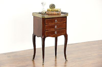 French Antique Rosewood Chairside Chest, Lamp or End Table, Nightstand