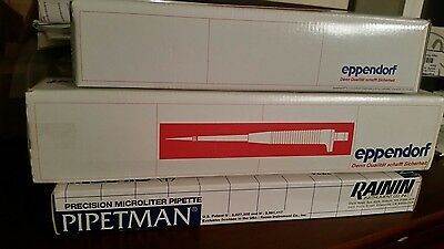 Lot of 3 New Micropippettes, 2 Eppendorf & 1 Pipetteman