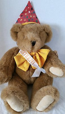 """The Vermont Teddy Bear Company, Jointed Plush Teddy Bear, With pink Bow, 16"""""""