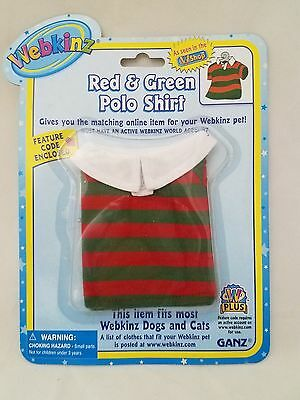 Red Green Striped Polo shirt fits most WEBKINZ cat dog pet CLOTHING new code