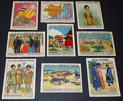 9 Chromos Chocolat Pupier Asie 1936 Mandchoukouo Serie Complete Punched