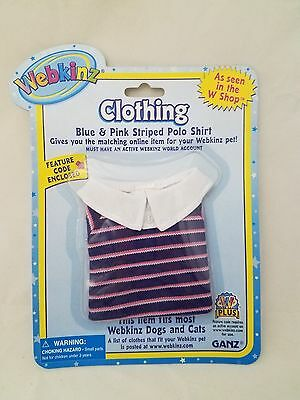 Blue Pink striped Polo shirt fits most WEBKINZ cat dog pet CLOTHING new code