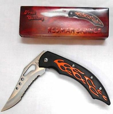 Lot of 10  Frost Cutlery Red Flamed Folding Pocket Knife 15-803B Wholesale NIB