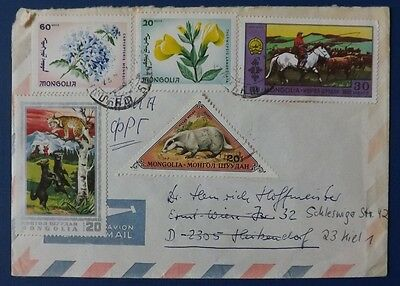 Mongolia 1970s Airmail Cover, used