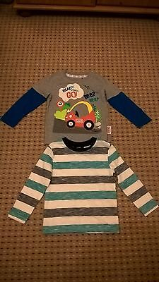George Little Tikes Baby Boys Long Sleeved Striped Car Tops T-Shirt 18-24 Months