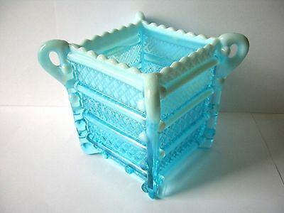 Davidsons Victorian - Blue Pearline Glass , Box Shaped Posyholder Or Similar