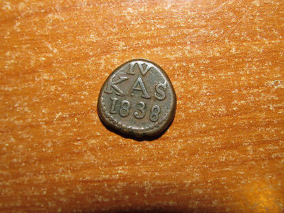 Danish India 1838 4 Cash coin HIGH GRADE RARE