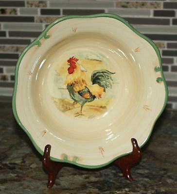 """Gibson Dinnerware 7"""" Round Rooster Design Bowl Tuscan / Italian / Country"""