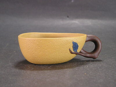 Chinese Yixing Zisha Cup Fruit Shaped with Leaf Handle (signed )
