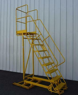 Heavy Duty Yellow Industrial 9 Step Rolling Ladder Warehouse Stairs
