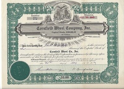 Cornfield Wheel Company Inc.(Michigan)......1929 Stock Certificate