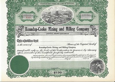 Roundup-Cooke Mining And Milling......unissued Common Stock Certificate