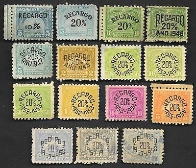 Lot of 15 caribbean revenue stamps, 1930s-1950s