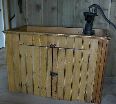 Antique Pine Wainscoting Early 1900's Primitive Dry Sink