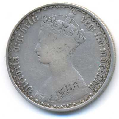 Great Britain UK Queen Victoria Silver Florin Two Shillings MDCCCLVII 1857 F/VF