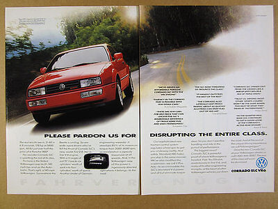 1992 VW Volkswagen Corrado SLC VR6 red car photo Review Quotes vintage print Ad